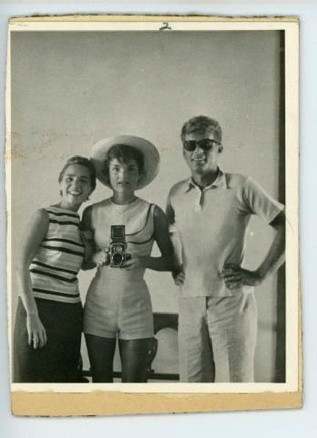 A Jackie O'Nassis mirror selfie with Jack and his  sister in law Ethel, taken in 1954.