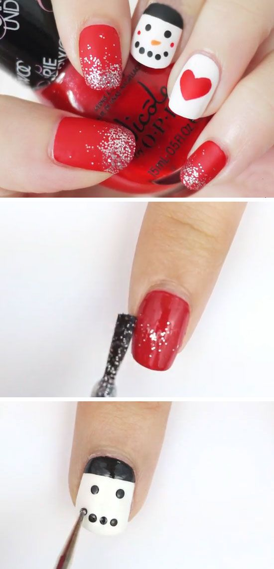 Matte Snowman | 20+ DIY Christmas Nail Art Ideas for Short Nails