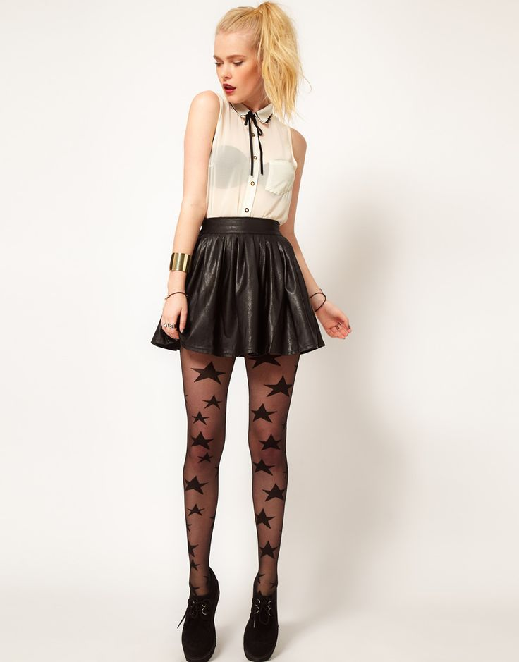 nice black leather skater skirt outfit 8