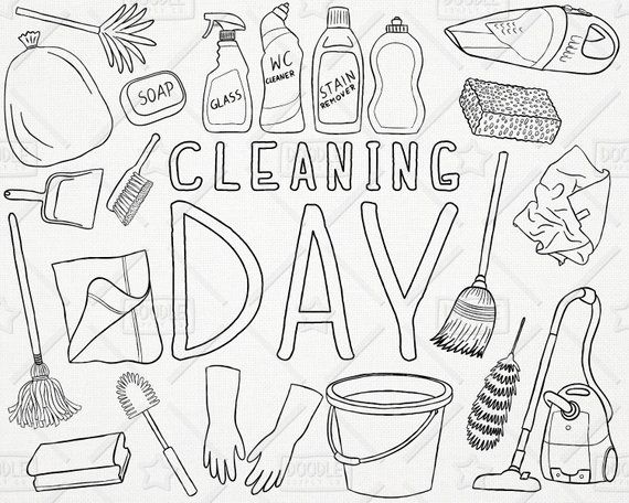 Doodle Cleaning Vector Pack Chores Clipart Laundry Clipart Soap