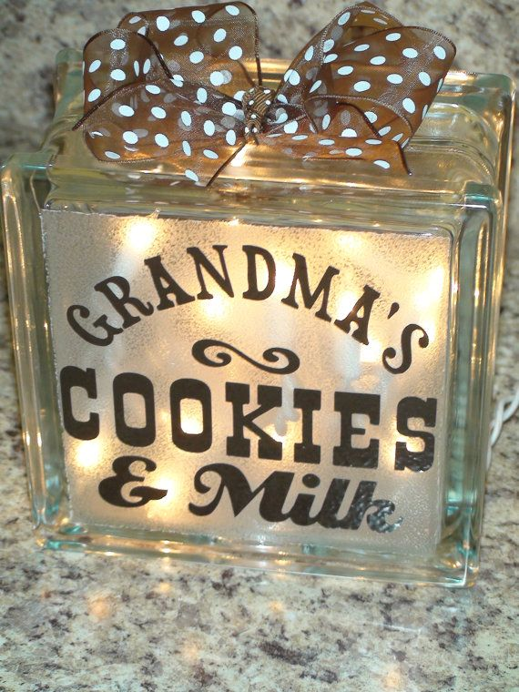 Grandma's Cookies and Milk Lighted Glass block by TooSweetTees, $29.50.. something like this in the kitchen as a night light..