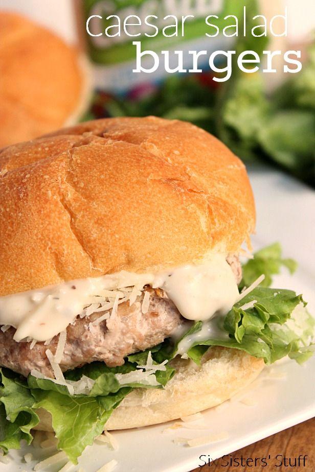 The perfect twist on hamburger: Caesar Salad. Recipe from SixSistersStuff.com