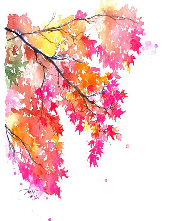 Georgia Autumn print from watercolor by JessicaIllustration, $25.00 #watercolor #fall #japanesemaple