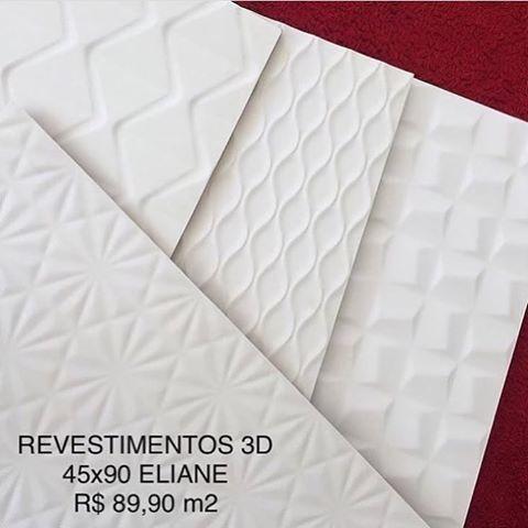 Qual o seu preferido?  Revestimentos 3D 45x90 Eliane e DecorTiles a PRONTA ENTREGA! R$ 89,90 m2. #revestimento #3d #tridimensional #DecorTiles #elianerevestimentos #pisoArt #prontaentrega