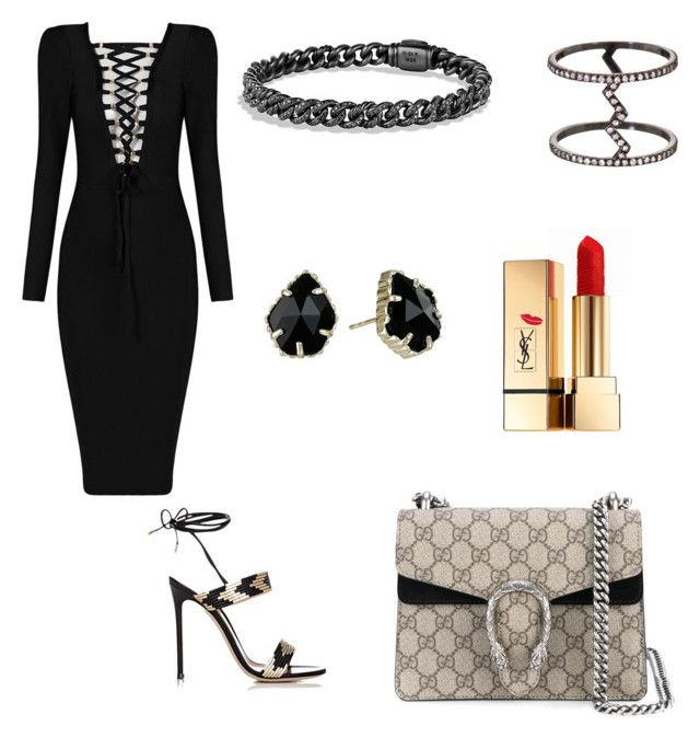 LBD by zarastyling on Polyvore featuring polyvore, fashion, style, Gianvito Rossi, Gucci, Kendra Scott, Eva Fehren, Yves Saint Laurent and clothing