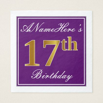 Elegant Purple Faux Gold 17th Birthday  Name Paper Napkin - kitchen gifts diy ideas decor special unique individual customized