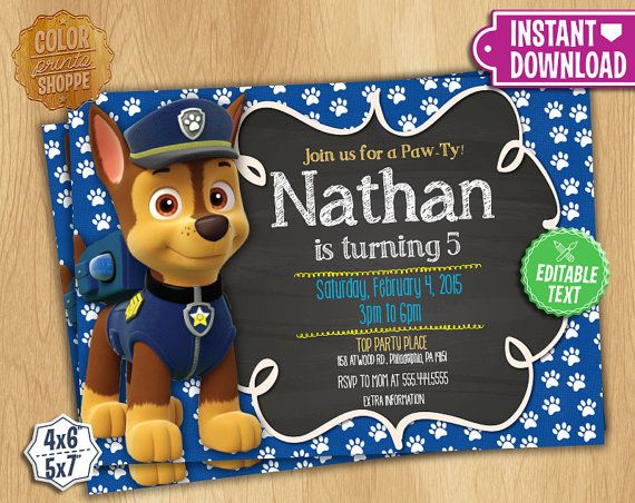 Paw Patrol Invitation EDITABLE TEXT Chase by ColorPrintsShoppe