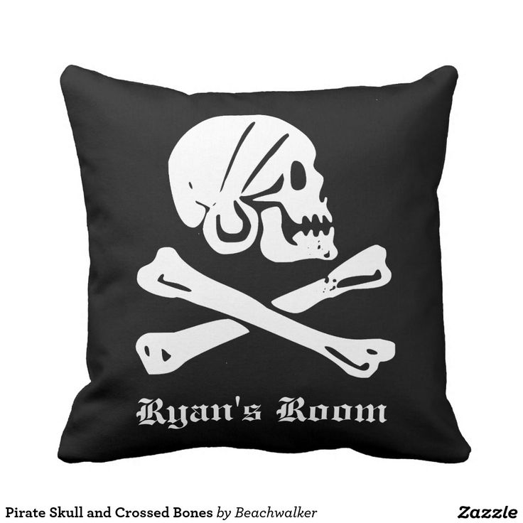 Pirate Skull and Crossed Bones Throw Pillow Designed by Beachwalker on Zazzle.