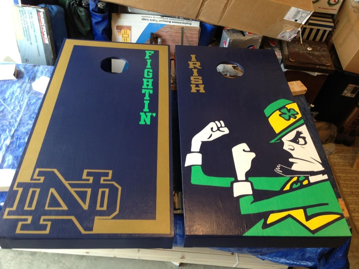 Notre dame corn hole boards. Check www.facebook.com/fishscustoms for more and custom order information
