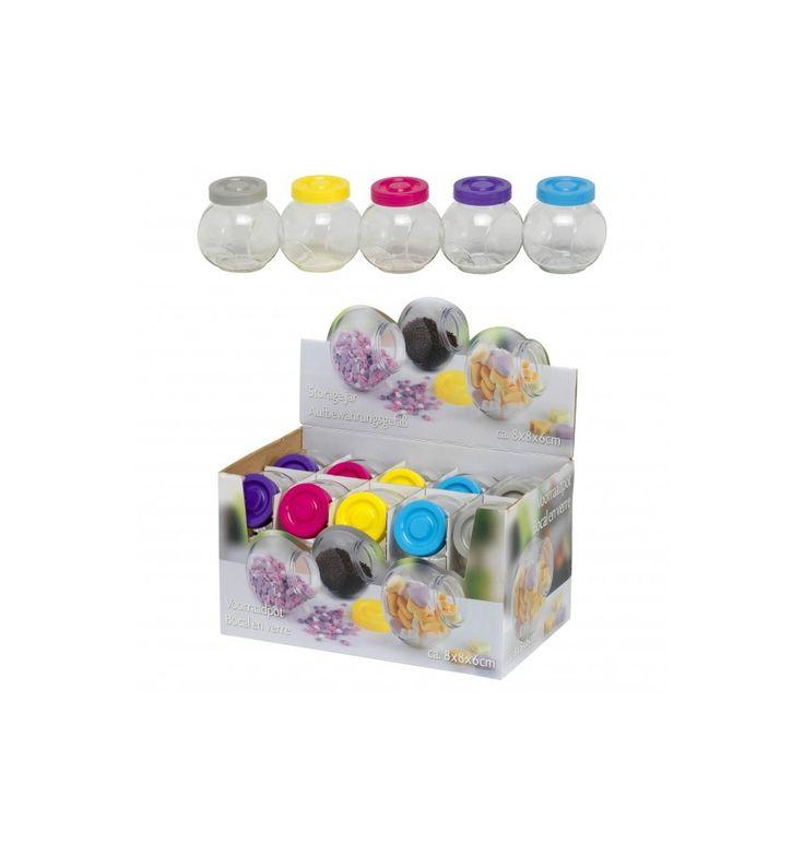 Voorraadpotje Afmetingen: 8x8x6cm Opbergen van bijvoorbeeld snoepjes, kralen, loombandjes, etc.  - Voorraadpotje Glas 8x8x6cm - Grijs