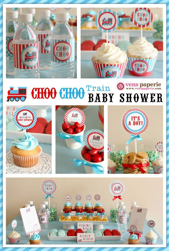 Vintage Choo-Choo Train Baby Shower Package Personalized FULL Collection Set - PRINTABLE DIY - BS802CA1x. $35.00, via Etsy.
