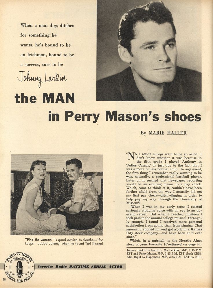 Perry Mason Radio Show. John Larkin.  From Radio-TV Mirror, May 1954.  From the Jim Davidson Collection.