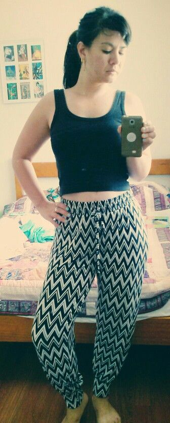 Zigzag pants matched with black crop c. 1991