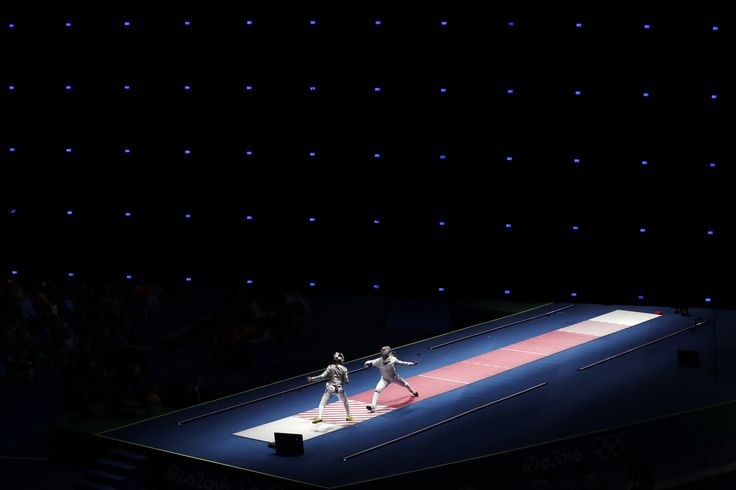 Anna Marton of Hungary, right, fences against Manon Brunet of France during women's saber individual fencing competition in the 2016 Summer Olympics in Rio de Janeiro, Brazil, Monday, Aug. 8, 2016. (AP Photo/Gregory Bull) via @AOL_Lifestyle Read more: http://www.aol.com/article/2016/08/12/olympian-drops-out-of-summer-games-to-protect-beloved-horse/21450160/?a_dgi=aolshare_pinterest#fullscreen