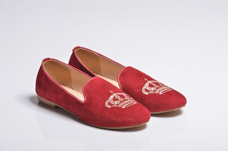 Red Crown Velvet Slippers