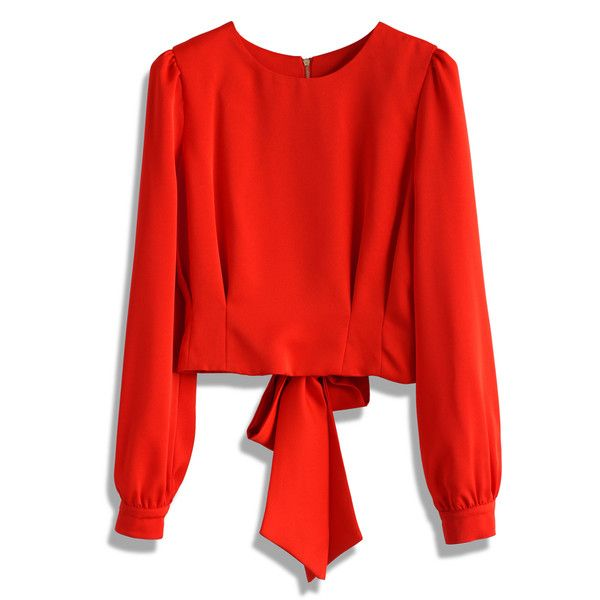 Chicwish Tie a Bow Cropped Top in Red ($32) ❤ liked on Polyvore featuring tops, red, reversible top, bow crop top, tie top, red top and cut-out crop tops