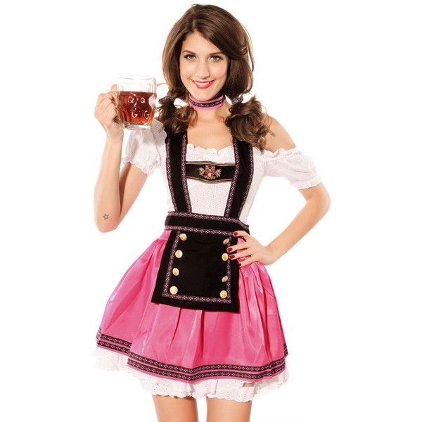 Pink Pretty Beer Girls Halloween Maid Costume (€32) ❤ liked on Polyvore featuring costumes, pink, tavern maiden costume, bar wench costume, saloon girl, beer wench costume and beer girl