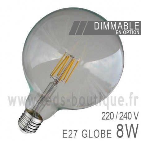 Ampoule LED E27 Globe 8W COB Filament G125 (Dimmable)