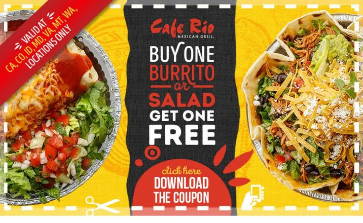 Cafe Rio Buy One Get Free Coupon Frugal in Virginia