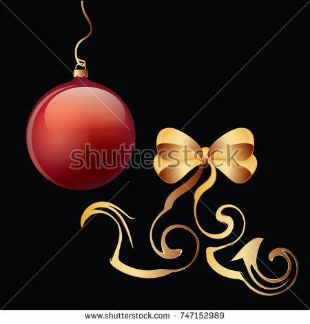 Elements for the New Year's design - a red ball and a golden bow -