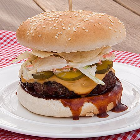 Bobby Flay's Dallas Burger with Cheese, Dill Pickle Slices,BBQ Sauce, Coleslaw, and Potato Chips