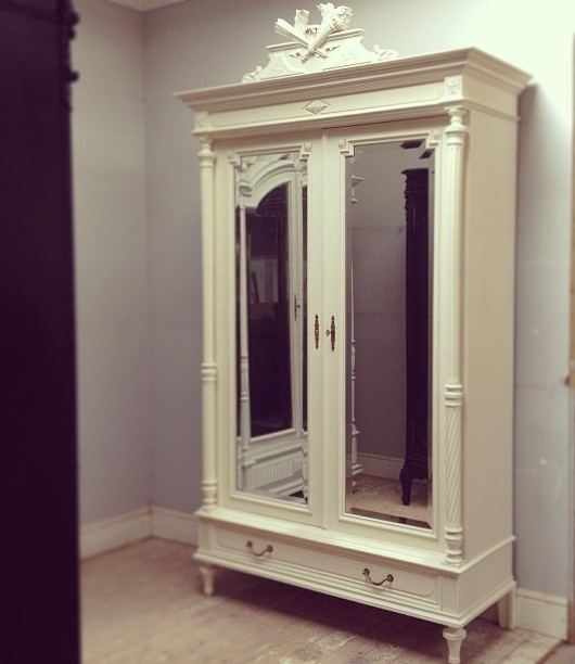 Latest antique French armoire repaint - Farrow & Ball 'House White' beautiful crest & columns