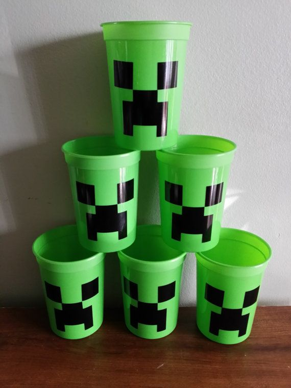 6 Minecraft creeper cups party favors or by diapercake4less, $10.50