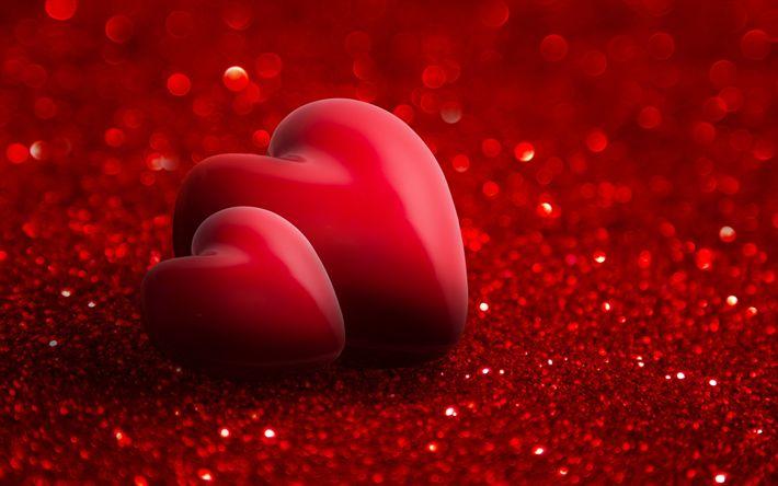 Descargar fondos de pantalla 3d corazón rojo, rojo brillante de fondo, los corazones, el amor conceptos, Día de san valentín