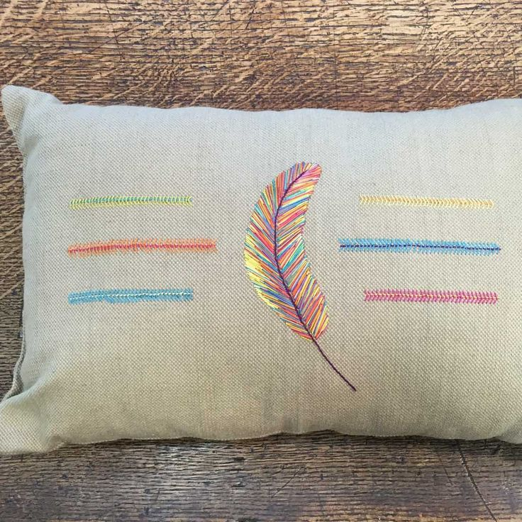 Au Ver à Soie Hand Embroidery Feather Pillow Kit by Nathalie Dentzer