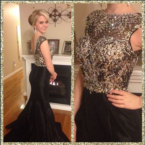 Kellie Halcomb is wearing Mac Duggal Style 82066M in Black/Nude. Stunning black prom dress with lots of added embellishments.