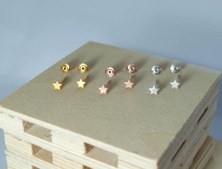 star earrings, stud earrings, gold stars, sterling silver 925, stars, gold-plated stars, rose gold stars, silver stars, black stars,handmade by Fragkiski on Etsy