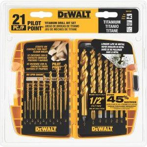 DEWALT DW1361 Titanium Pilot Point Drill Bit Set Review http://toolcrunch.com/dewalt-dw1361-titanium-pilot-point-drill-bit-set-review/