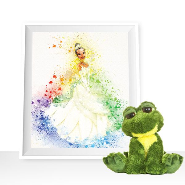 Princess Tiana wall art, Tiana Watercolor The Princess and the Frog printable Disney Princess Art Print Tiana decor Disney Wall Art Disney by HappyLittleFrog on Etsy