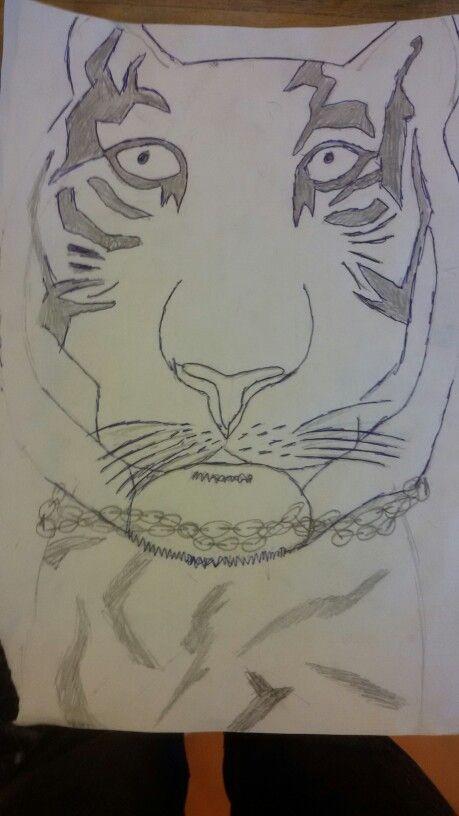 deze tekening heb ik gebruikt om het op het hout te krijgen met carbonpapier