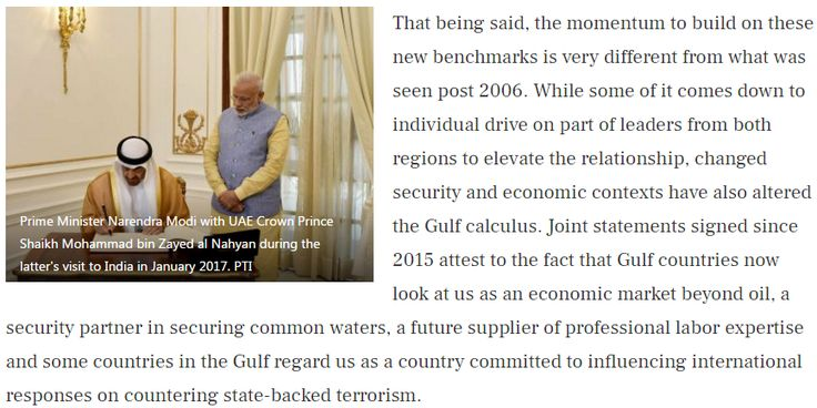 """Economy, defence and security policy: How UAE's crown prince's visit improved India's standing in the Gulf """"Beginning in 2015 with Prime Minister Modi's maiden visit to the UAE, there have been two-way heads of state visits between India and the UAE, India and Qatar and an outgoing visit to Saudi Arabia. Get Narendra Modi's & BJP's latest news and updates with - http://nm4.in/dnldapp http://www.narendramodi.in/downloadapp. Download Now. """""""