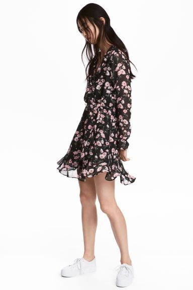 Wrap dress - Black/Floral - Ladies | H&M GB 1