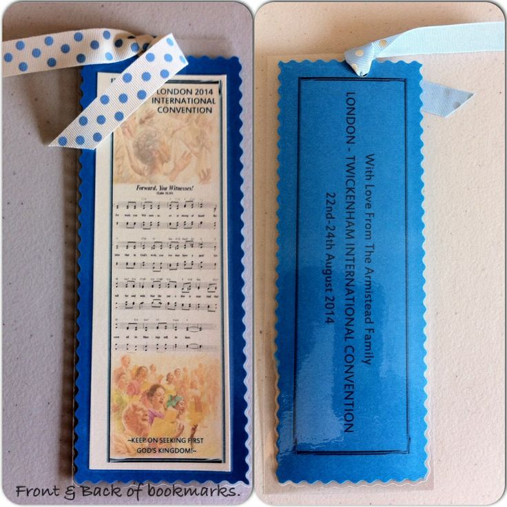 Bookmark memorabilia gifts we've made for the international delegates at the London 2014 JW International Convention.