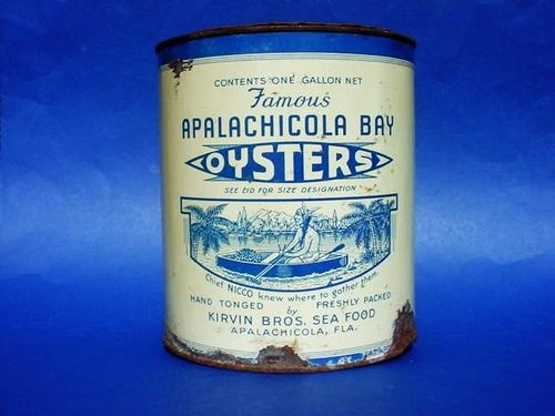 "Very RARE Early ""Apalachicola Bay"" Florida Oyster Tin Pics Indian Chief in Boat 