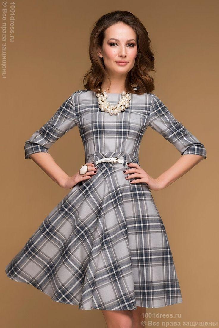 Купить серое клетчатое платье длины мини с рукавами 3/4 и пышной юбкой в интернет-магазине 1001 DRESS