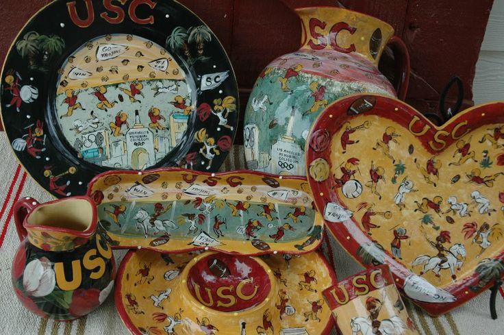 Usc Hand Painted Pieces By Lesal Lesal Custom Ceramics