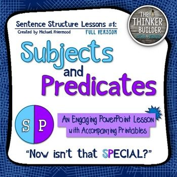 Subjects and Predicates CAN be fun! Packed with unique memory aids, fresh practice sentences, tons of animations, and interactive features to keep your students engaged, Sentence Structure Lessons #1: Subjects and Predicates is a PowerPoint-based lesson designed to teach students to identify the subject and predicate of a sentence. ------------------------------------------------------------------------------------**FLASH FREEBIE***FLASH FREEBIE***FLASH FREEBIE**This resource is absolutely…