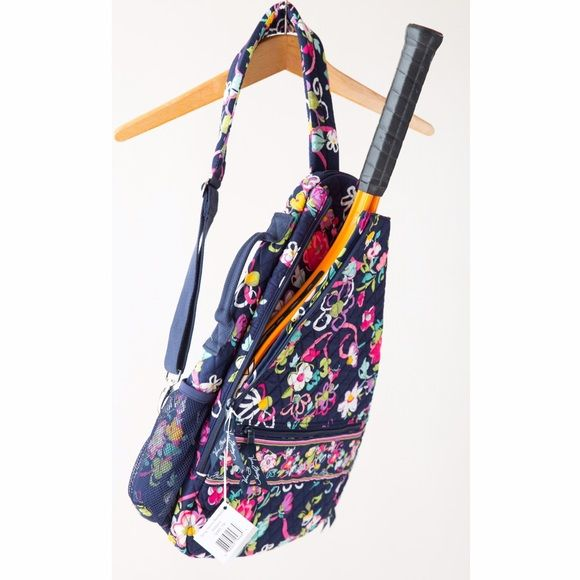 Vera Bradley Ribbons Sling Tennis Backpack Vera Bradley sling tennis backpack in the discontinued Ribbons print. Very spacious bag with a separate slot for a tennis racket. With original tags. Never been used. Vera Bradley Bags Backpacks