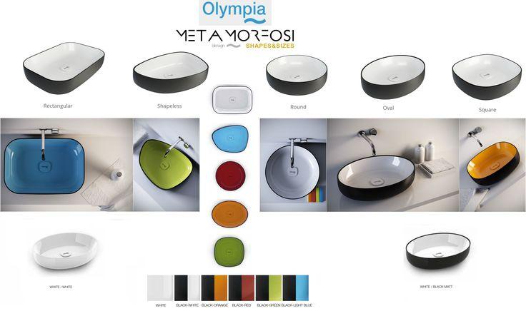 METAMORFOSI Collection counter top basins. Olympia Ceramica | Design by Gianluca Paludi