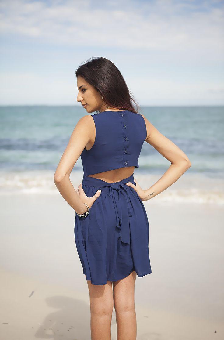 Ribbon Back Navy Dress - AU$37    Shop: http://www.leftlanevintage.com/products/details/ribbon-back-navy-dress