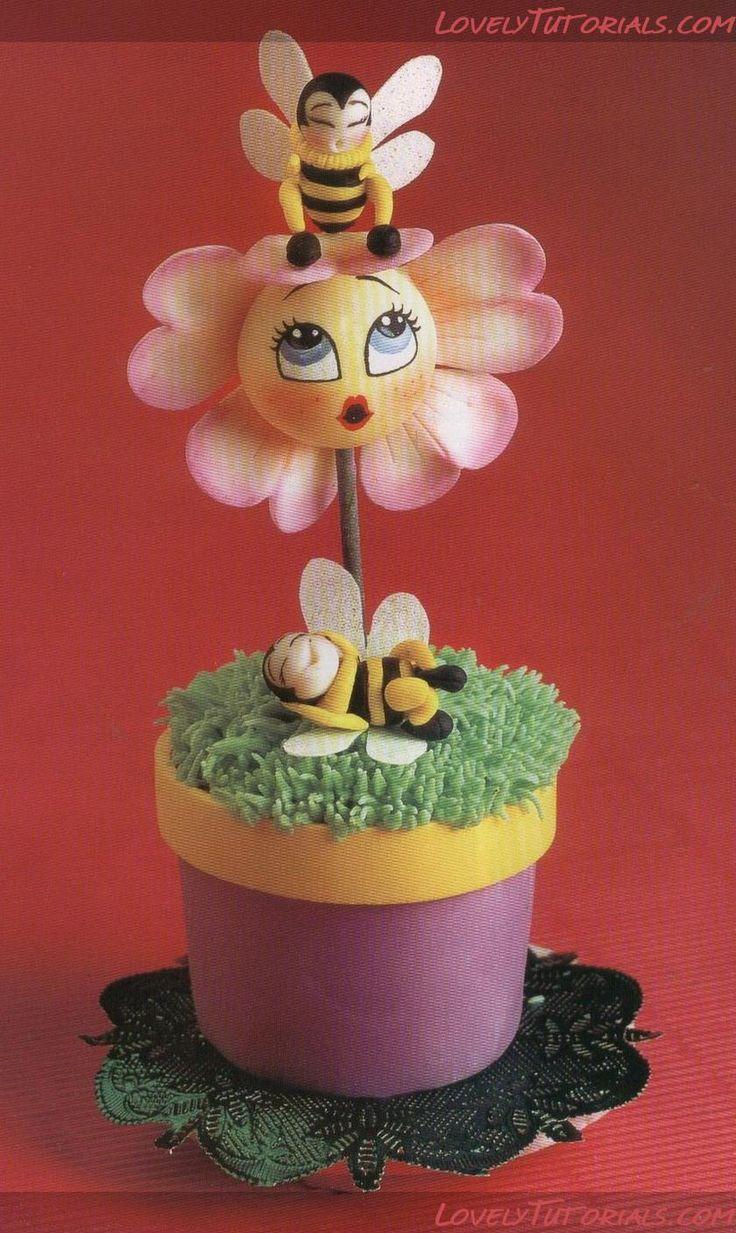"""МК тортик """"Цветочек с пчелками в горшке""""-Flower in a pot step by step - Мастер-классы по украшению тортов Cake Decorating Tutorials (How To's) Tortas Paso a Paso"""