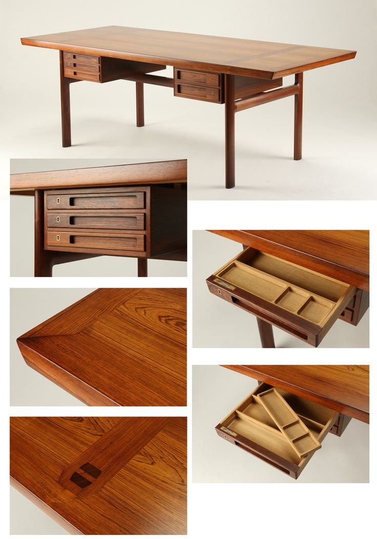 Peter Hvidt & Orla Mølgaard-Nielsen. Freestanding desk of rosewood. Fitted with drawer units in each side with swivel function; by turning drawer modules the desktop can be used as a meeting table or a dining table. Produced by cabinetmaker Ludvig Pontoppidan. Lit .: Mobilia 1959 October-November 1959th 40 years of Danish furniture design: the Copenhagen Cabinetmakers' Guild exhibitions from 1927 to 1966, Jalk, Grethe. - Taastrup, 1987, Vol. 4 Pictures from Lauritz.com