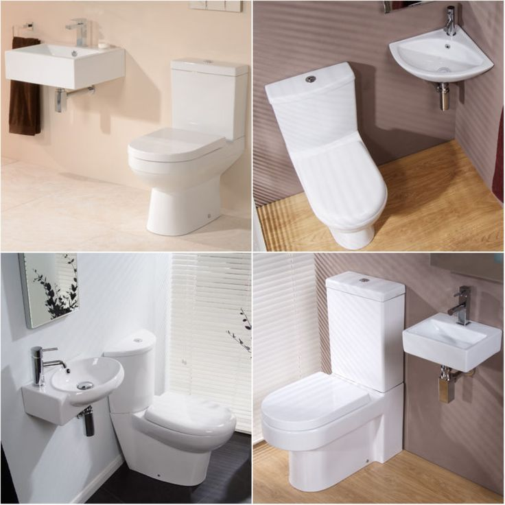 Modern WC Toilet & Small Compact Wall Hung Basin Cloakroom Bathroom Suites