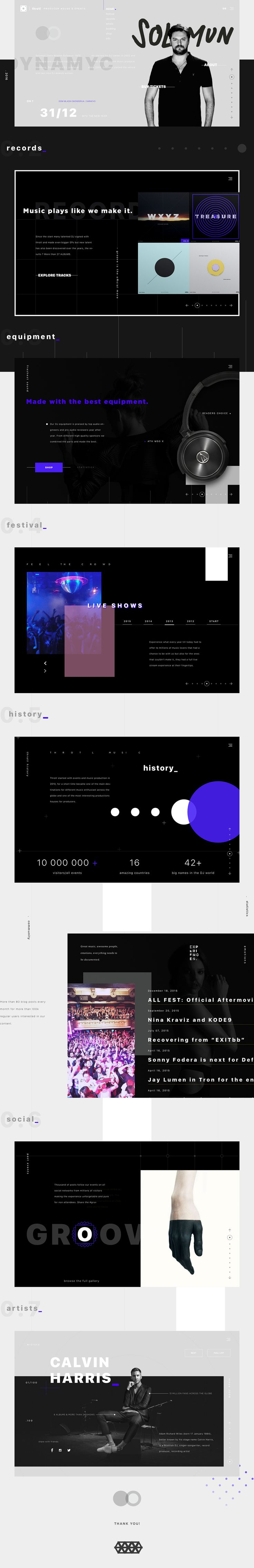 Full website experience design for a music producing and event organizing company ( throtl_ ) Elegant typography and a detailed color palette with some very subtle photography was the way to transfer events energy to the visiting crowd.