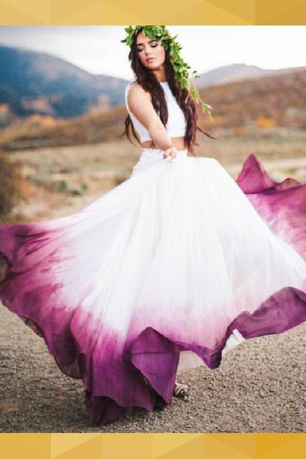Delightful Prom Dress Chiffon, Two Pieces Prom Dress, Ombre Wedding Dresses