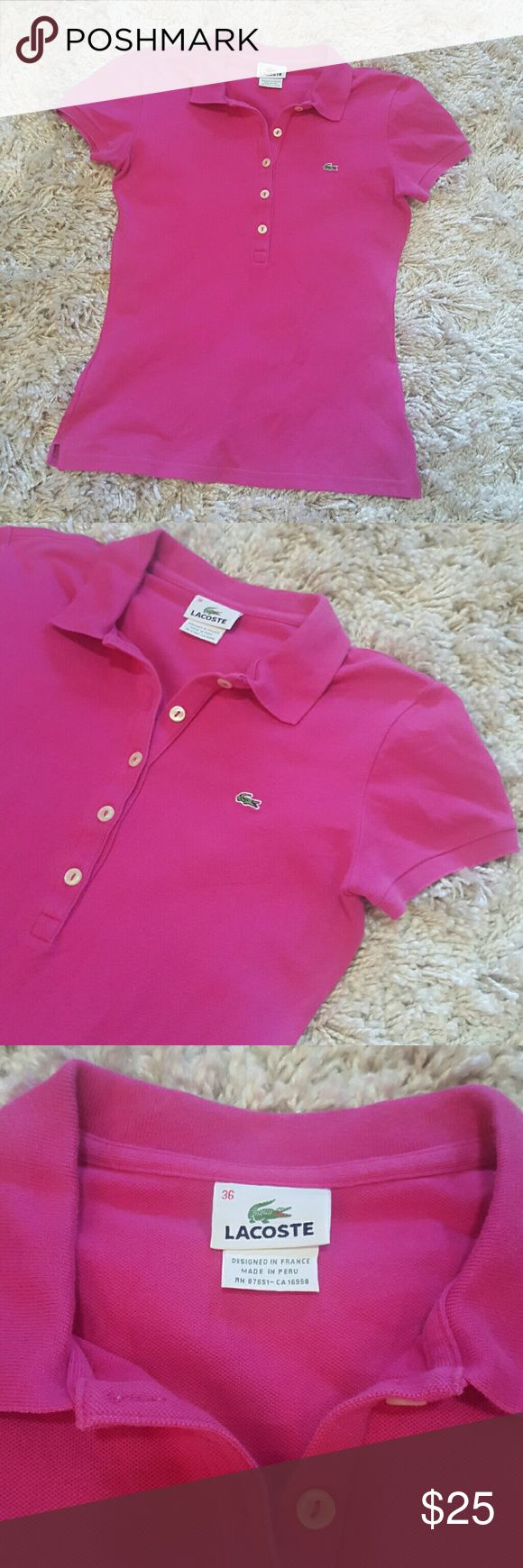 Lacoste Polo Shirt In good condition, no stains or holes. Material listed in photos. Hot pink color. Appears brighter in photo due to lighting. Lacoste Tops